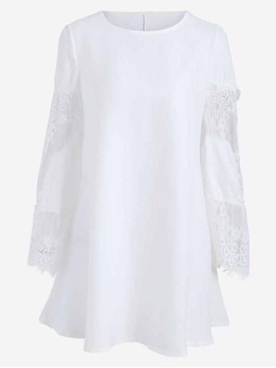 lady Long Sleeve Lace Panel Dress - WHITE L