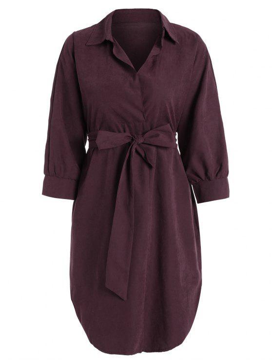 فستان عالية انخفاض بلون واحد مربوط - نبيذ أحمر XL
