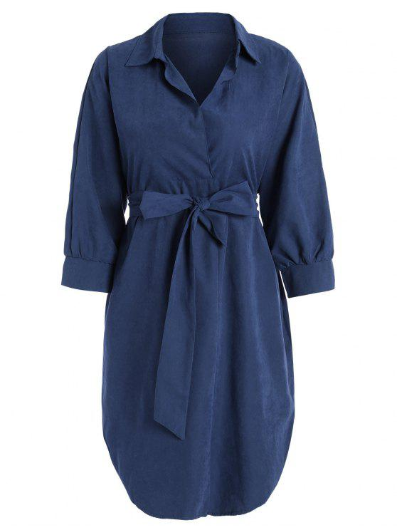 affordable Belted Plain High Low Dress - BLUE XL
