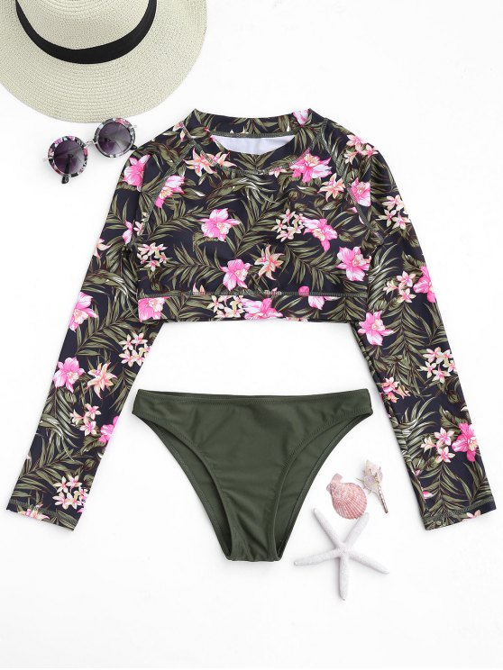 outfit Long Sleeve Leaf Print Tankini Set - FLORAL M