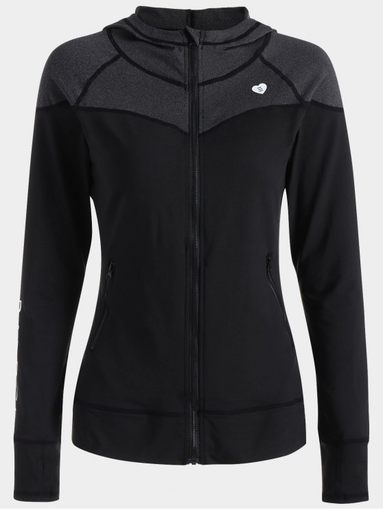Veste de sport à capuche Zip Up - Noir XL
