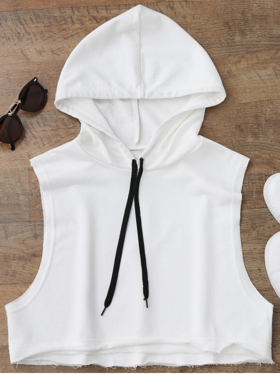 women's Dropped Armhole Hooded Sports Top - WHITE ONE SIZE