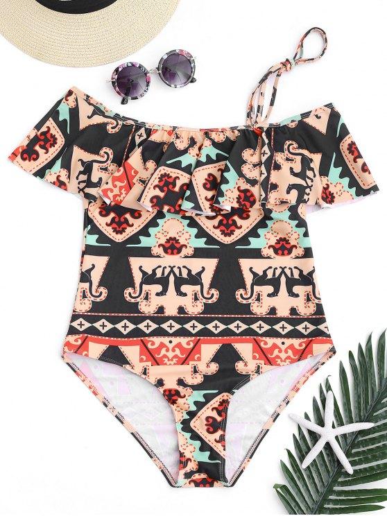 Printed One Shoulder Ruffles Swimwear - Colormix S