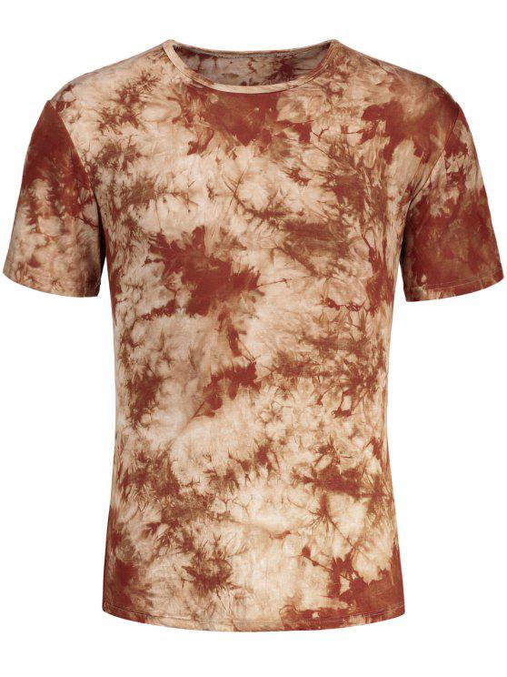 fashion Men Round Neck Tie Dyed Tee - LIGHT COFFEE L