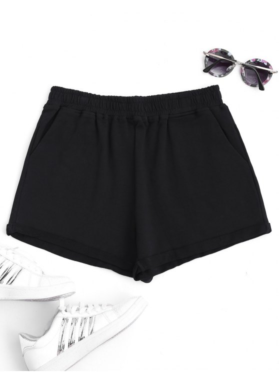 sale Rolled Cuff Elastic Waist Sports Shorts - BLACK L