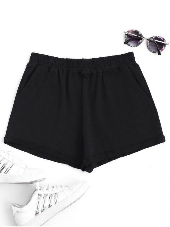 Rodado cuff elástico cintura deportes pantalones cortos - Negro L