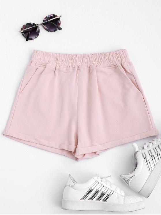 Rodado cuff elástico cintura deportes pantalones cortos - Rosa L