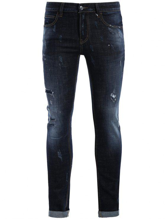 Hommes Straight Ripped Vintage Jeans - Bleu 32