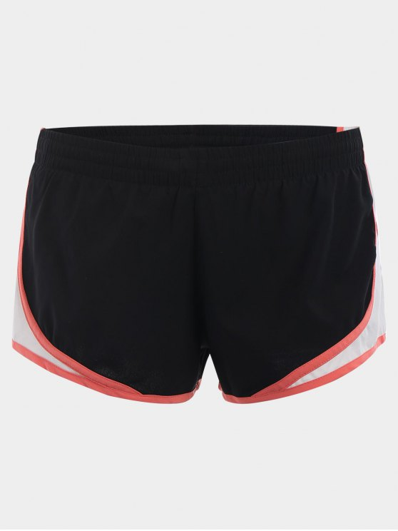 Contraste Trim Drawstring Sports Shorts - Noir M