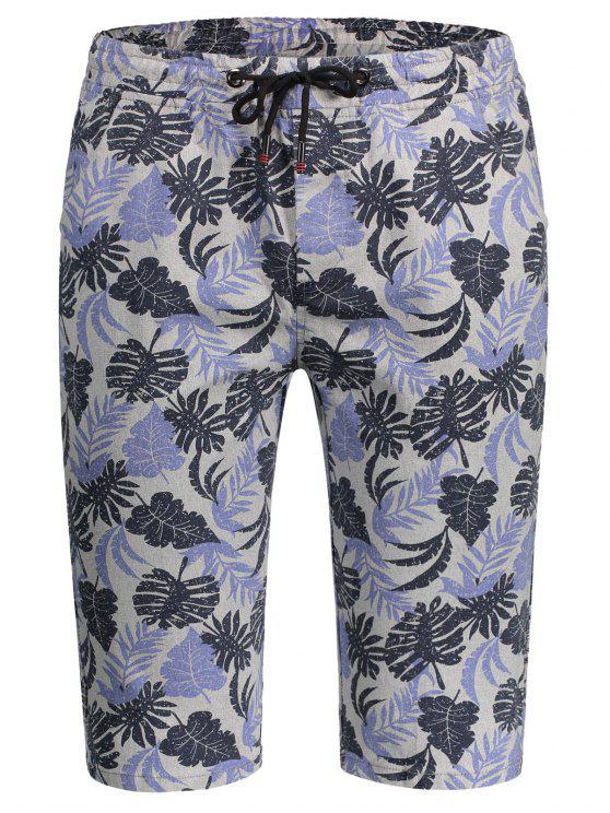 Shorts Bermudes Drawstring Leaf - Multicolore L