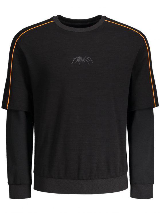 Sweatshirt à imprimé isolé à rayures simples - Noir L