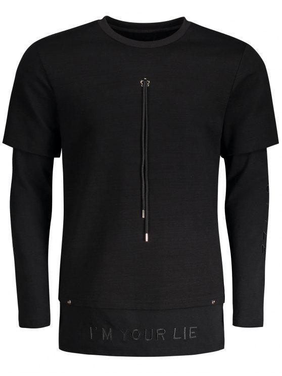 Sweat-shirt à Lettre Brodé à Cordon Détaillé - Noir M