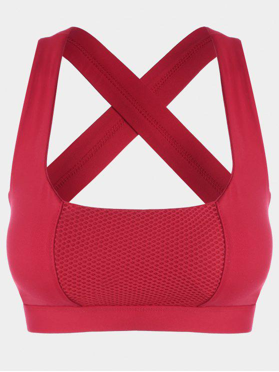 Mesh Panel Crisscross Cutout Sports Bra - Rojo XL