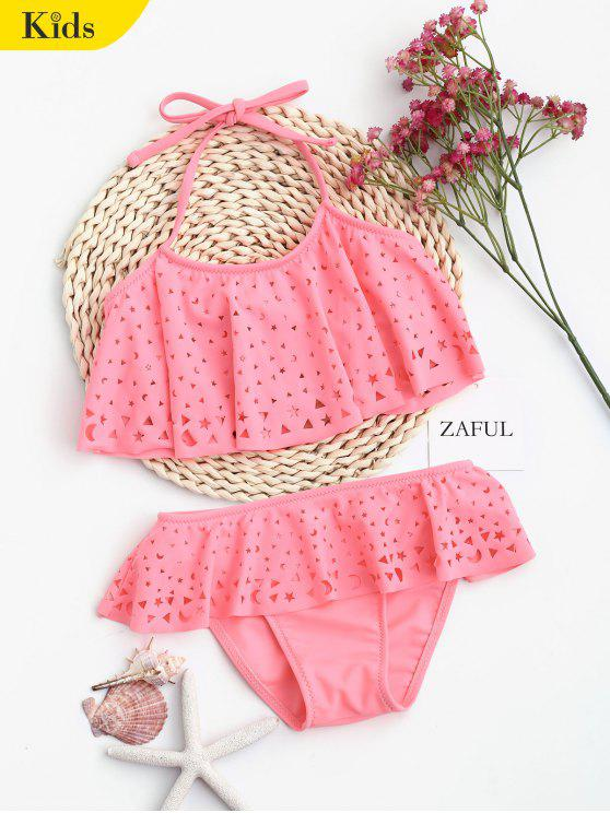 Overlay Laser Cut Ruffles Kid Bikini - Rose Clair 7T