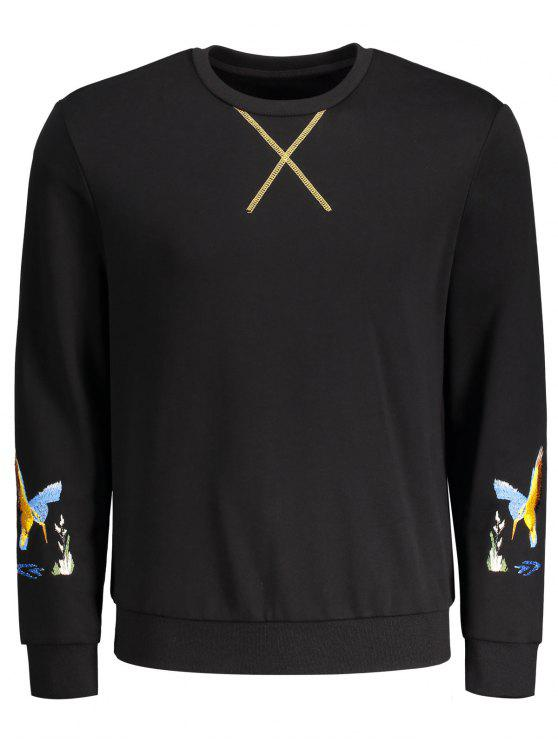 fancy Crisscross Bird Print Pullover Hoodie - BLACK M