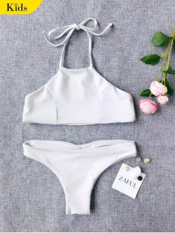 Bikini à Col Halter Mignon Pour Enfant - Blanc 6T