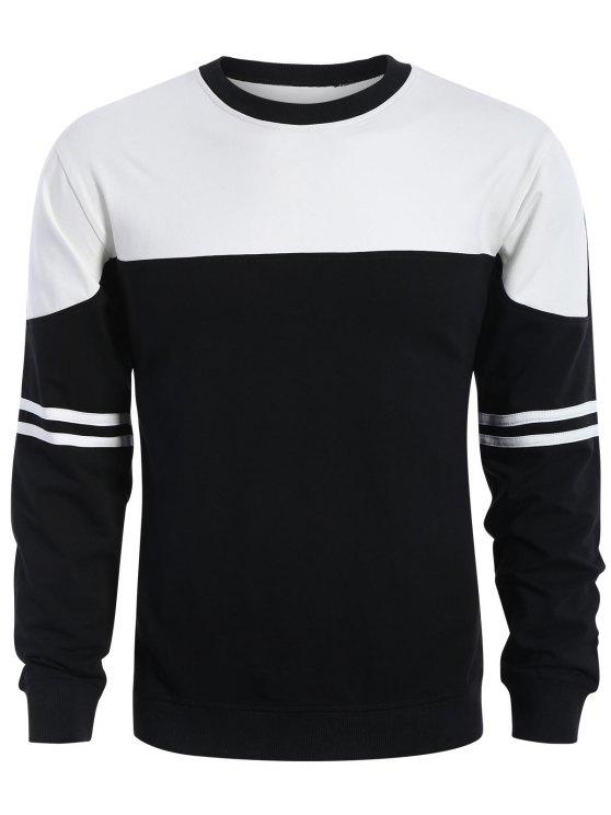 Mens Two Tone Sweatshirt - Weiß & Schwarz XL
