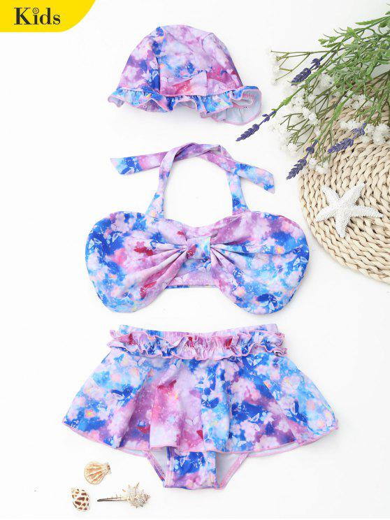 Bowknot Tie Dye Skirted Kid Bikini - Multicolore 3T