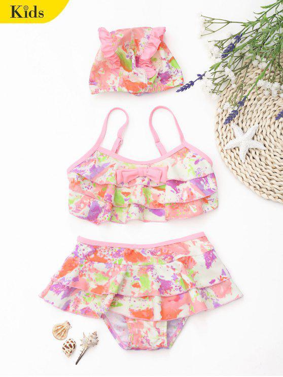 Kid Bowknot Tie Dye Tiered Bikini - Multicolore 3T