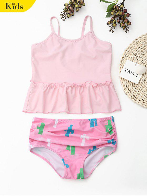 outfits Printed Ruffle Kids Tankini Set - LIGHT PINK 8T
