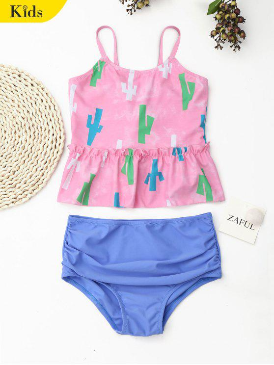 shops Printed High Waisted Kids Tankini Set - PINK 4T