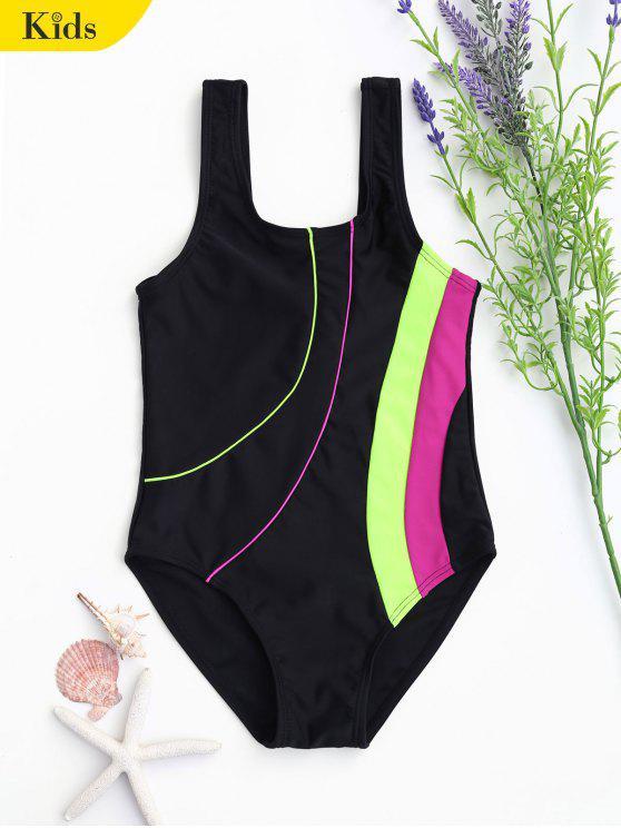 Back Low Cut Color Block Kid Swimwear - Noir 7T