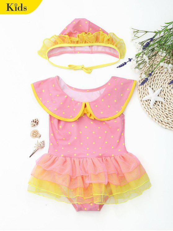 Polka Dot Ruffles Layered Kid Maillots de bain bordé - ROSE PÂLE 4T