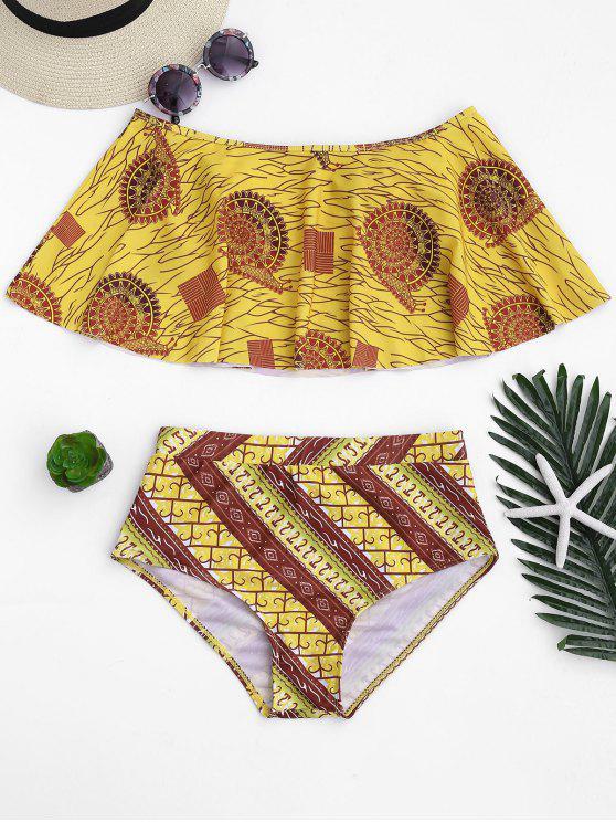 Overlay Off Shoulder High Waisted Bikini - Curcumae M