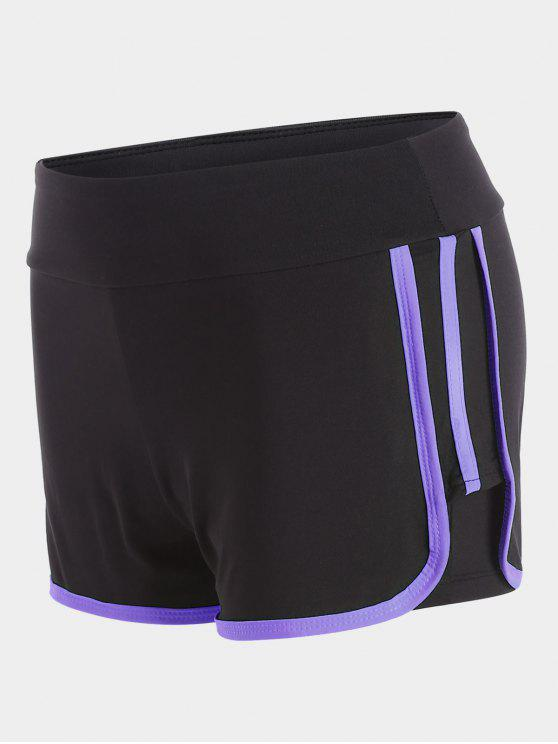 unique Stripe Trim Sports Shorts - PURPLE XL
