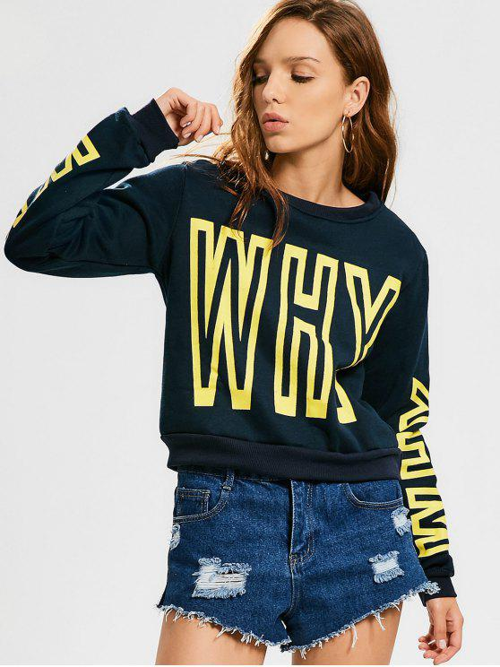 trendy Sports Letter Padded Sweatshirt - PURPLISH BLUE L