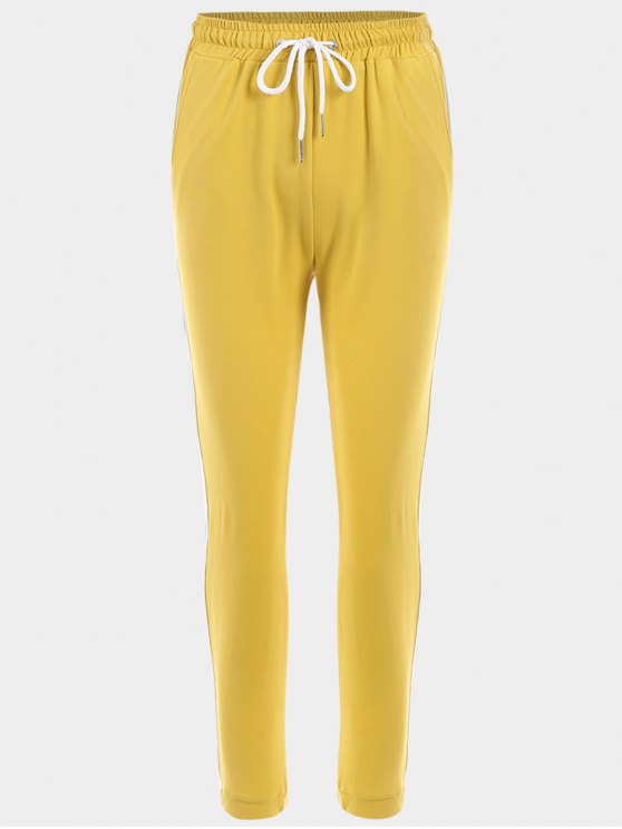 ladies Striped Drawstring Sports Pants - YELLOW S