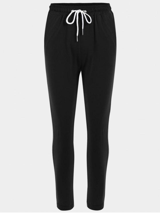 Calças desportivas de cordão listrado - Preto M