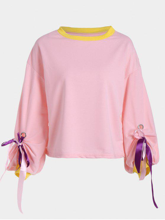 latest Gathered Sleeve Bowknot Sweatshirt - PAPAYA ONE SIZE