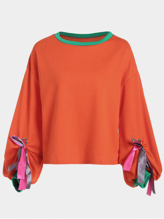 trendy Gathered Sleeve Bowknot Sweatshirt - ORANGEPINK ONE SIZE
