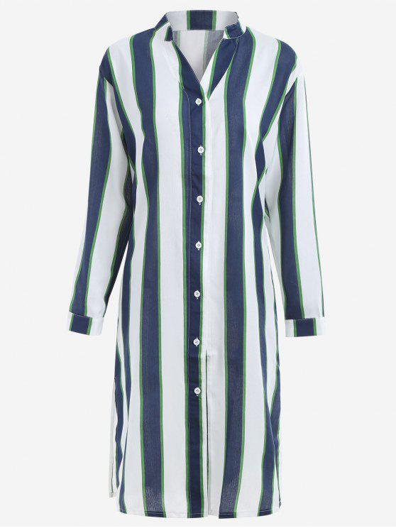 sale Button Up Striped Maxi Blouse - CERULEAN S