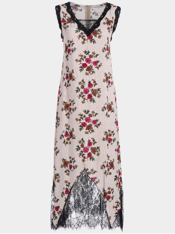 Lace Trim Floral Stripes Maxi Vestido - Rojo XL