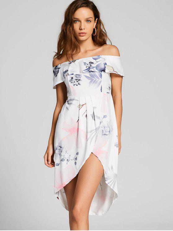 vestido assimétrico  ombro de fora flora - Branco XL