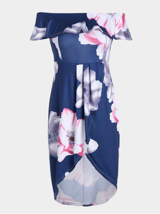 Robe asymétrique à encolure élastique - Bleu Violet XL