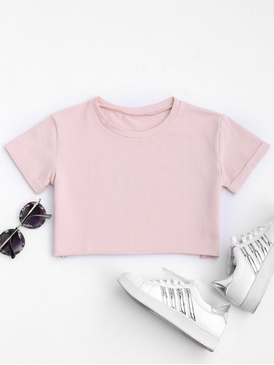lady Curled Sleeve Cropped Sports Top - PINK L