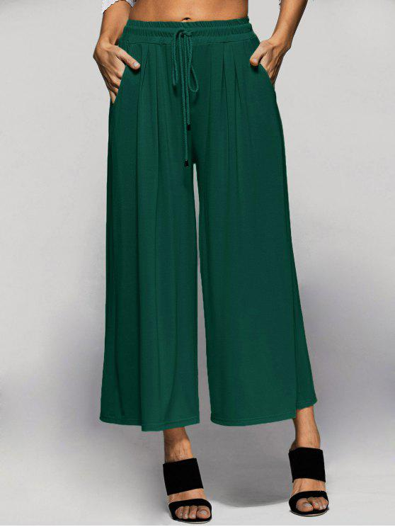 latest Elastic Waist Culotte Pants - GREEN L