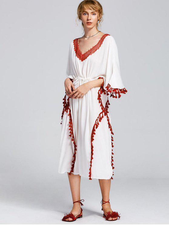 فستان مربوط دانتيل التريم شرابة ماكسي - أبيض M