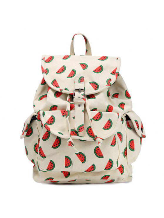 womens Fruit Print Canvas Backpack - RED