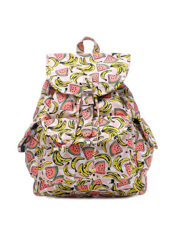 women Fruit Print Canvas Backpack - PINK