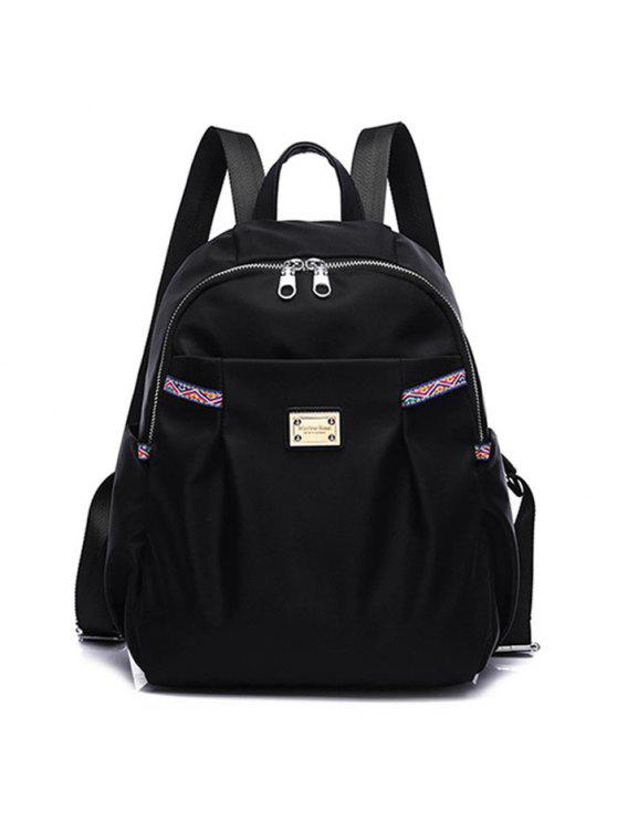 sale Ethnic Trim Nylon Backpack - BLACK