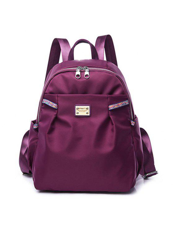 affordable Ethnic Trim Nylon Backpack - PURPLE