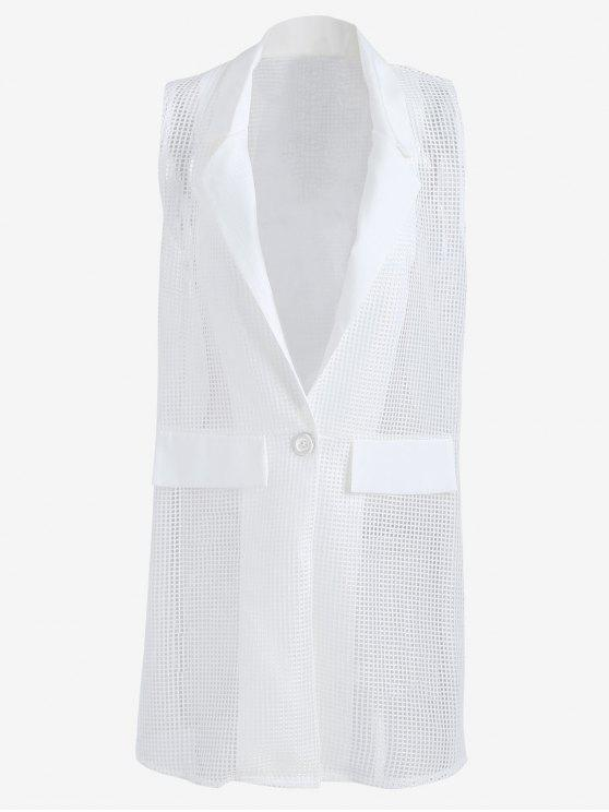 Hollow Out Faux Pockets Long Waistcoat - Blanc TAILLE MOYENNE