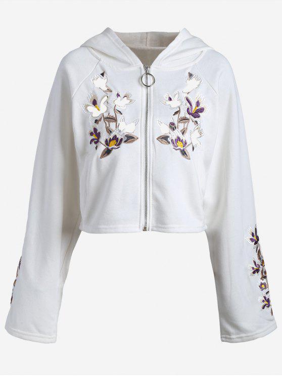 هوديي بسحاب مرقع بالأزهار - أبيض مقاس واحد