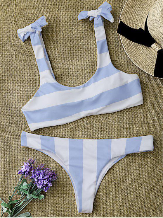 best Striped Tie Shoulder Scoop Bikini Set - BLUE AND WHITE M