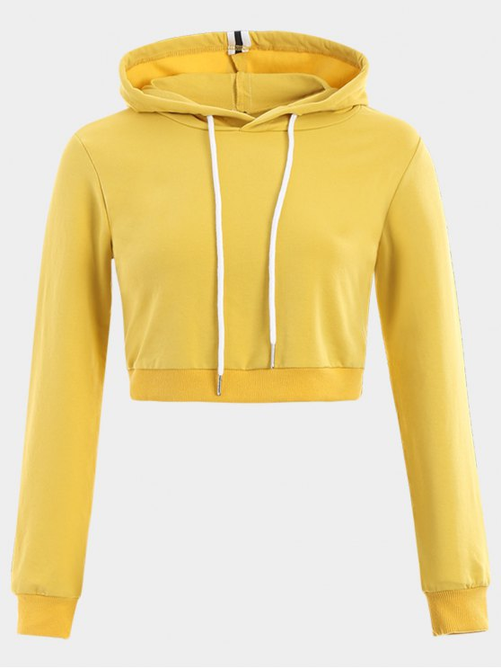 hot Cropped Drawstring Sports Hoodie - YELLOW S