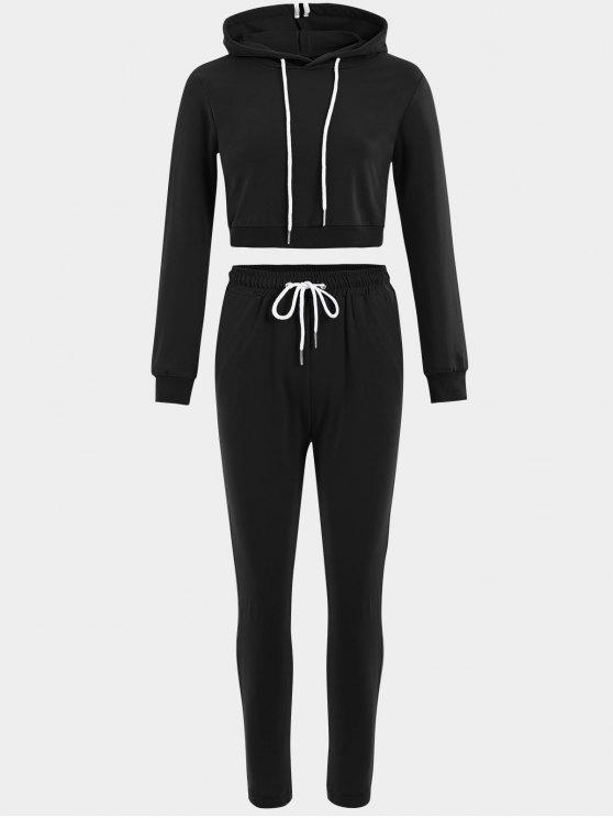 Sudadera sport con cordones y pantalones - Negro L